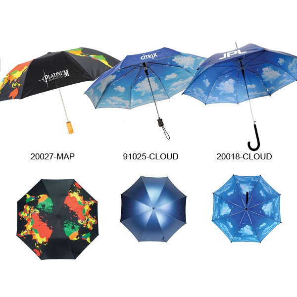 "Nimbus Cloud Umbrella With Auto Open And Iridescent Navy Outer Canopy; 43"" Arc Photo"