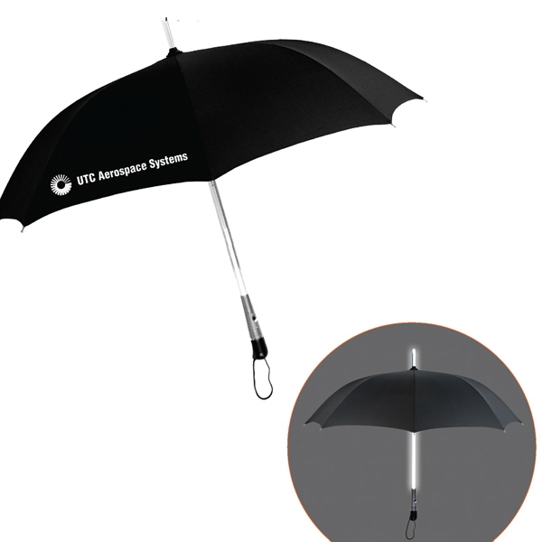 "Led Lighted Shaft Umbrella With 3 Lighted Modes And Shoulder Strap Sleeve; 46"" Arc Photo"