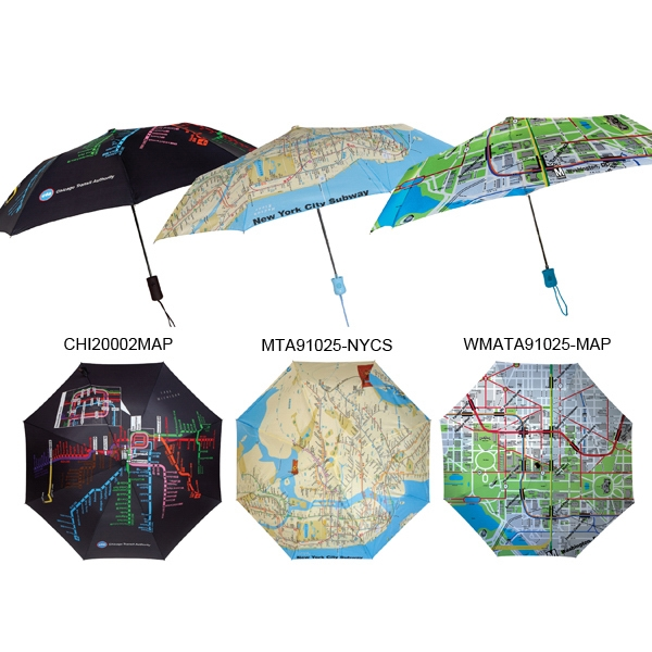 "Subway Automatic Open Umbrella With Map Of New York City Subway System; 43"" Arc Photo"