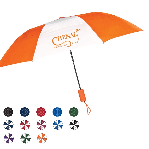 "Raindrop Auto Open Umbrella With A Wind Resistant Frame And Vented Canopy; 43"" Arc Photo"