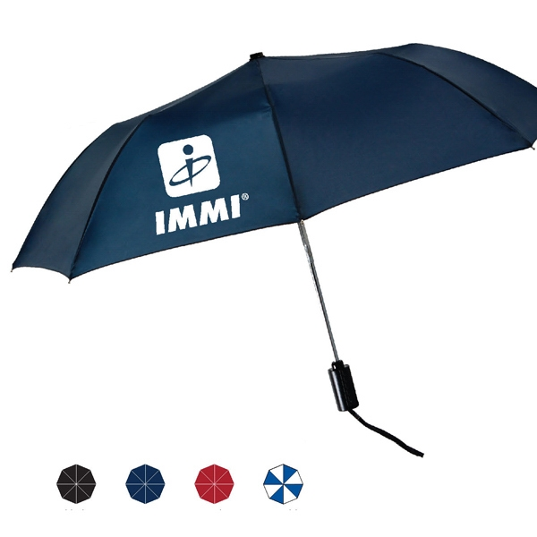 "Mist Automatic Open And Close Folding Umbrella With Ergonomic Black Handle; 43"" Arc Photo"
