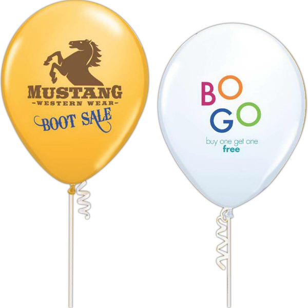 "Qualatex (r) - 11"" - 9"" Or 11"" Qualatex Standard Color Latex Balloon With 2-color Imprint Photo"