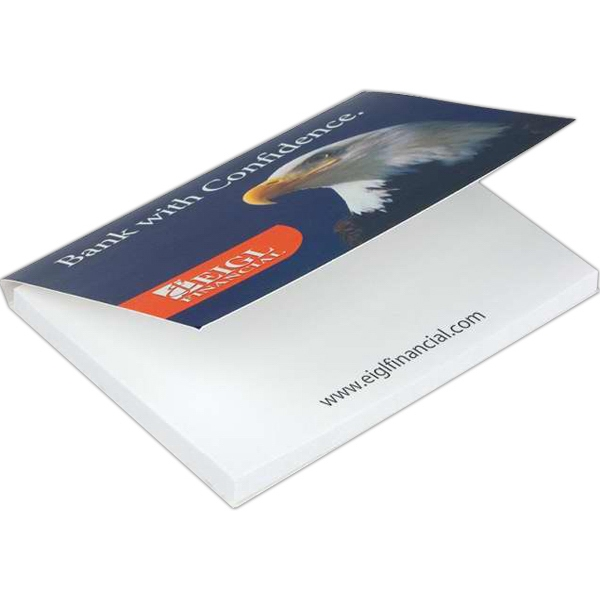 "Note pad with cover - 50 sheet white 3"" x 4"" note pad with cover, 1-4 color."