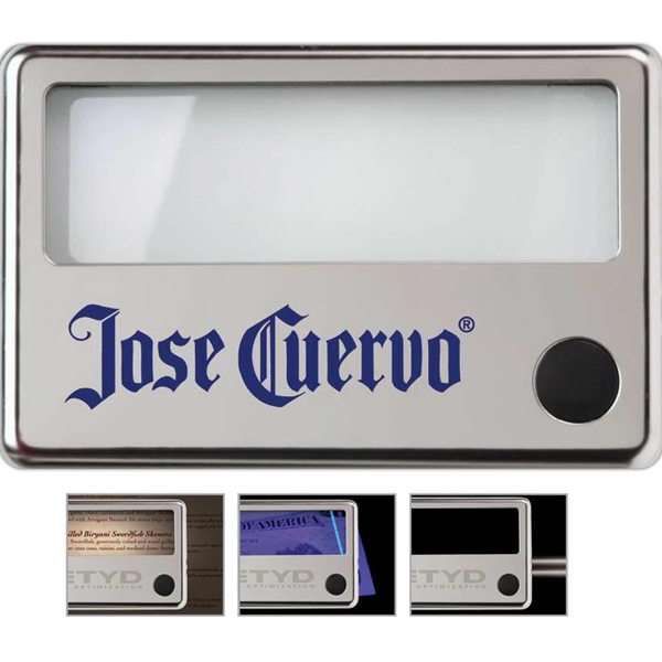 Illuminated Menu Magnifier, Polished Stainless Steel Finish Photo