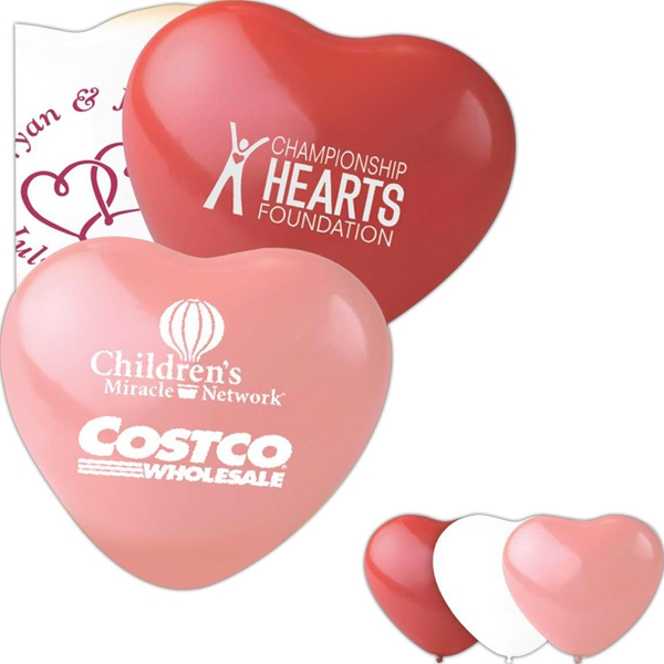 "Heart Shaped 11"" Latex Balloon. Helium Quality. 100% Biodegradable Photo"
