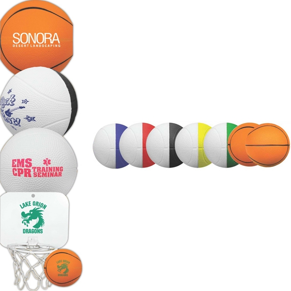 "Full Color 4"" Two-Toned Foam Basketball"