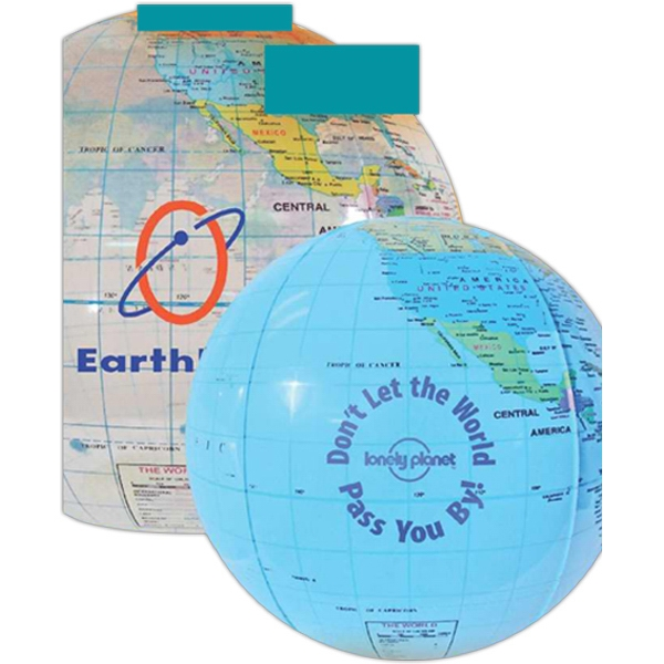 "16"" - Globe Beach Ball Made Of Durable Vinyl And Features An Air Catch Valve Photo"