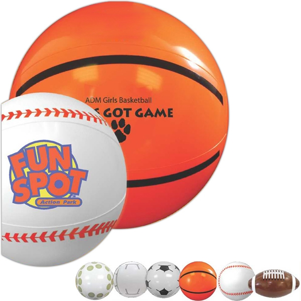 "Baseball - Sport Beach Ball, 16"". Made Of Durable Vinyl; Features An Air Catch Valve Photo"