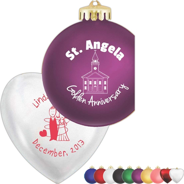 "Heart Ornament, Shatterproof; 4"" With Satin Finish. Individually Gift Boxed Photo"