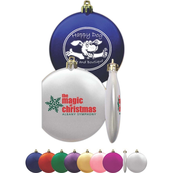 "Flat Round Shatterproof 3"" Ornament In 7 Bright Satin Color Choices Photo"