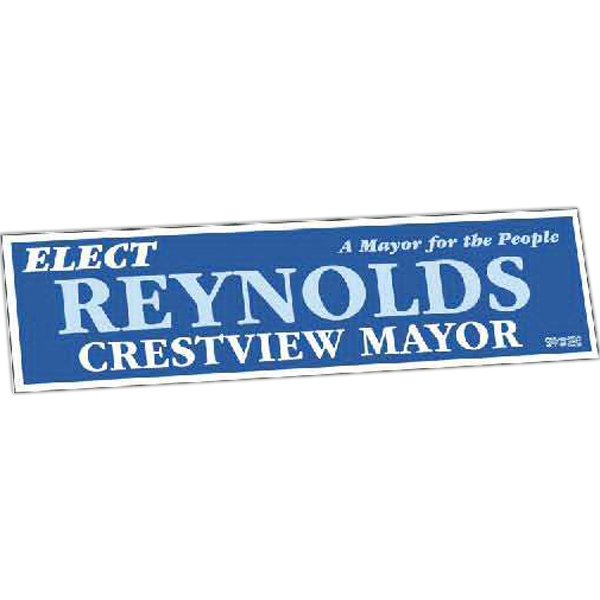 "Zip-strip (r) - 1 Color - One Day Bumper Sticker With Ultra Removable Adhesive. 2 1/2"" X 9 1/4"" Photo"
