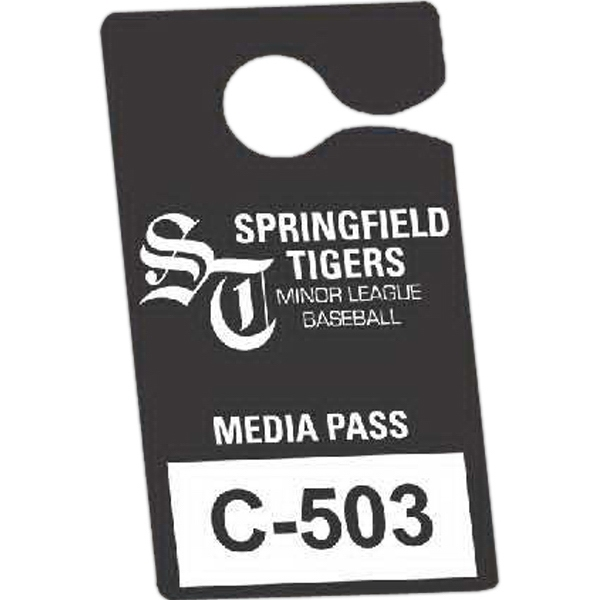 "Numbered .035"" White Recyclable Plastic - 3 1/2"" X 6"" - Durable Plastic Hanging Parking Permit Photo"