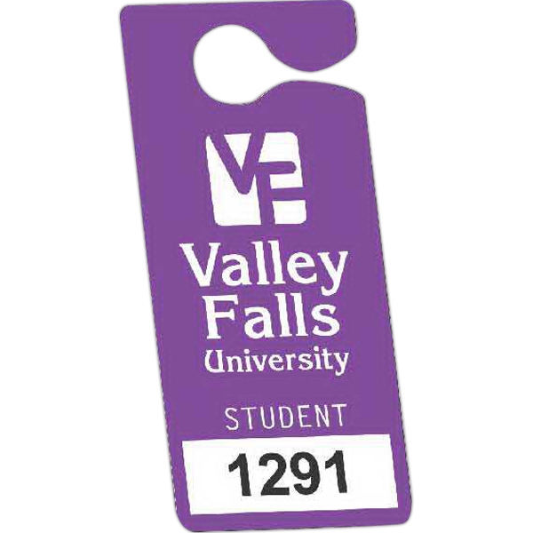 "Numbered .010"" White Plastic - 3"" X 6 3/4"" - Durable Plastic Hanging Parking Permit Photo"