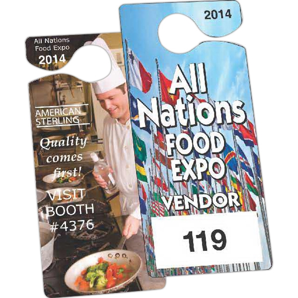 "Full Color Front - 3"" X 6 3/4"" - Temporary Hanging Parking Permit For Short-term Or Single Use Events Photo"