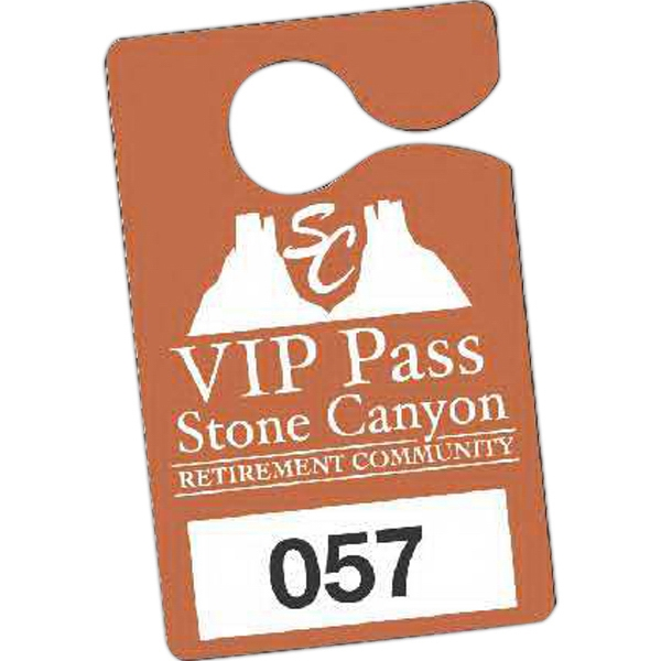 "Full Color Front & Back - 3"" X 4 3/4"" - Temporary Hanging Parking Permit For Short-term Or Single Use Events Photo"