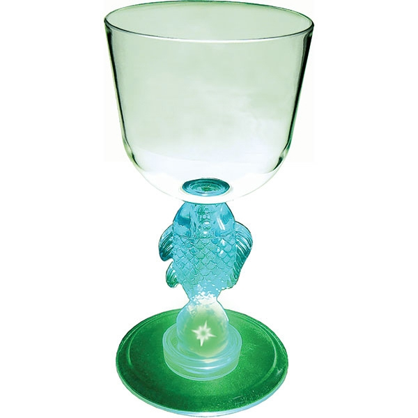 Fish - Lighted Wine Glass, 7 Oz With Novelty Stem Photo