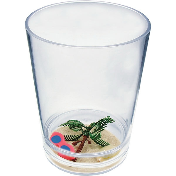 "Beach - Compartment Pint Cup Made Of Clear Styrene With Theme, 3.375"" X 4.375"" Photo"