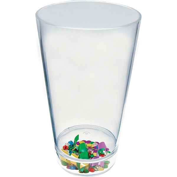 "Mardi Gras - Compartment Pint Cup Made Of Clear Styrene With Theme, 3.375"" X 5.875"" Photo"