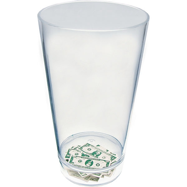 "Money - Compartment Pint Cup Made Of Clear Styrene With Theme, 3.375"" X 5.875"" Photo"