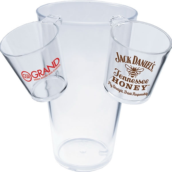 "Hook Shot Glass Made Of Clear Styrene, 2.25"" X 2"". 1.5 Oz Photo"