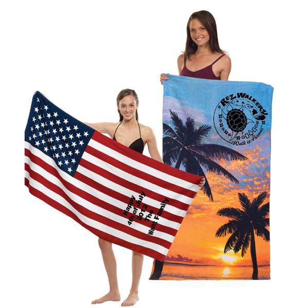 "Printed - Palms Print 30"" X 60"" Fiber Reactive Cotton Beach Towel With Sheared Smooth Finish Photo"