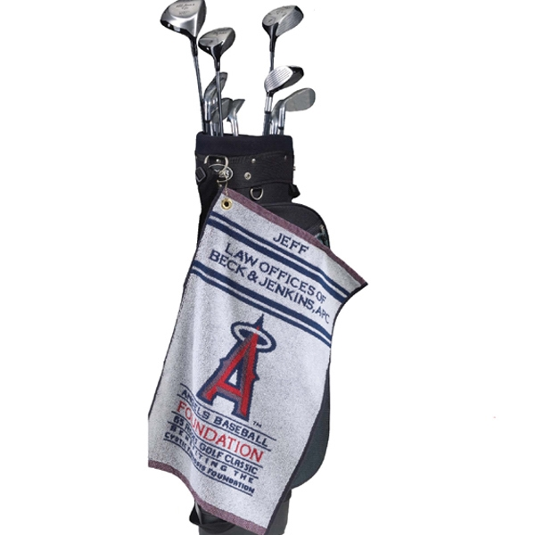 "Custom Loop Terry Jacquard Golf Towel, 16"" X 40"" Photo"