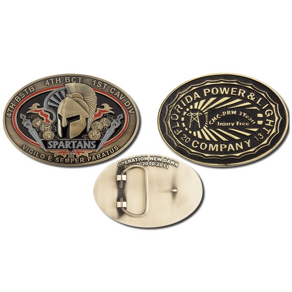 "4.5"" X 3.5"" - 3d Belt Buckle Cast With Lead Free Zinc Alloy, Hand Polished & Hand Painted Photo"