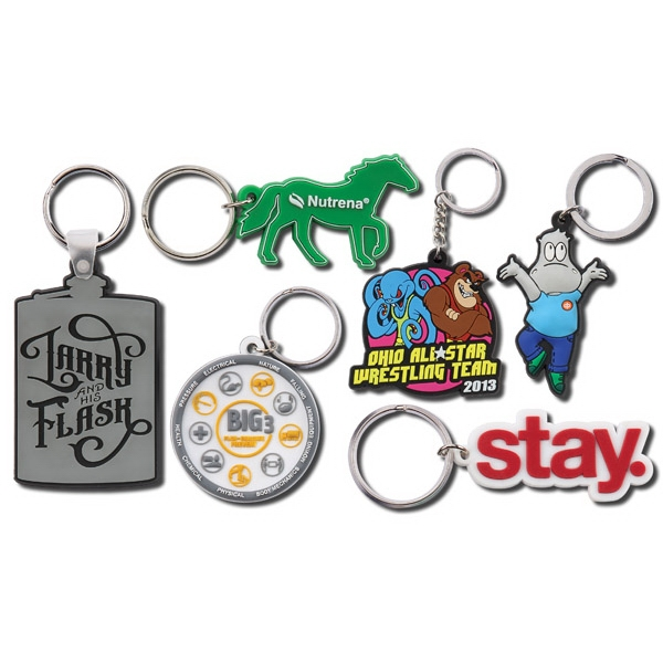 "1 3/4"" - Fun And Flexible Single Sided Custom Design Pvc Key Ring Photo"