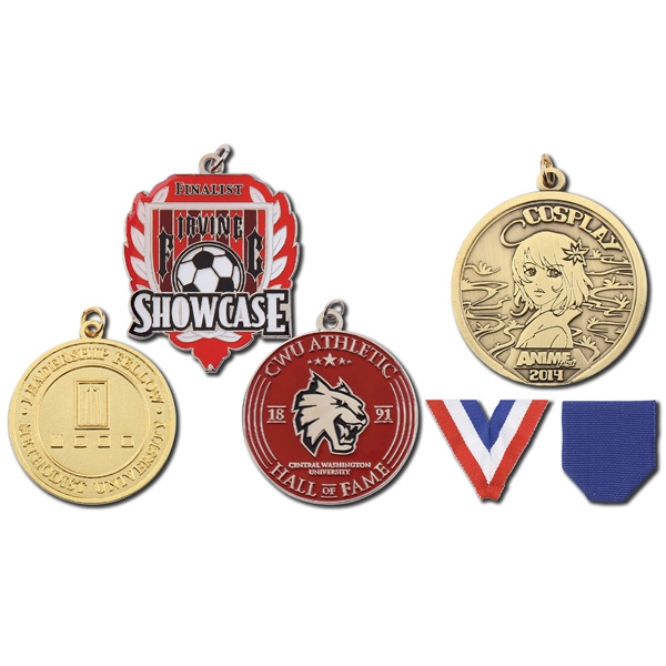 "1 3/4"" - Struck Single Sided 2d Medal, Colors Bordered By Metal Lines Photo"