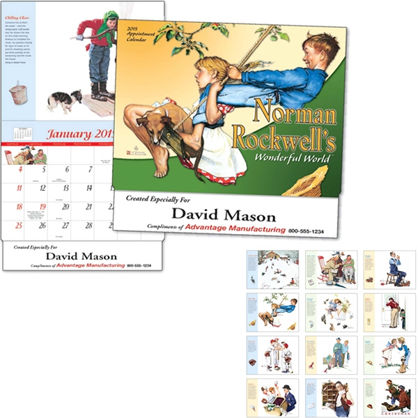 Norman Rockwell Wonderful World (tm) - Thirteen Month Appointment Calendar With Monthly Illustrations And Descriptions Photo