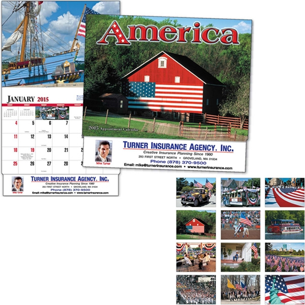 Thirteen Month Appointment Calendar With A Patriotic Quote For Each Month Photo