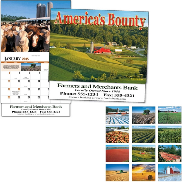 America's Bounty - Thirteen Month Appointment Calendar With Images Of Fields, Livestock, And Farms Photo
