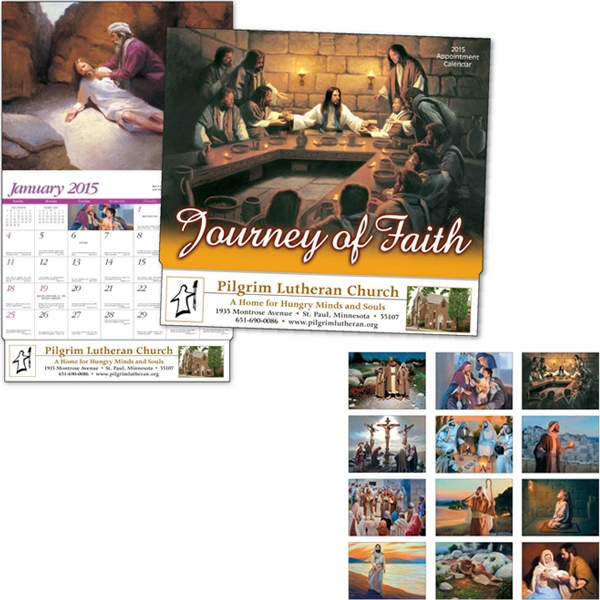 Journey Of Faith - Thirteen Month Appointment Calendar With Religious Scenes And Bible Verses Photo
