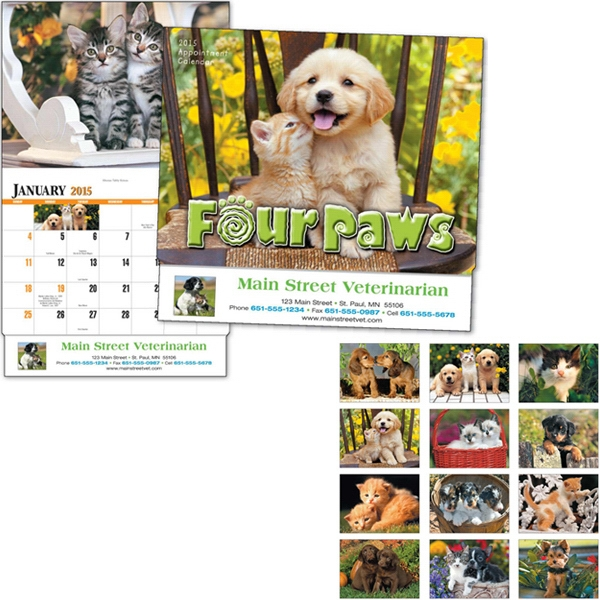 Four Paws - Thirteen Month Appointment Calendar With Images Of Puppies And Kittens Photo