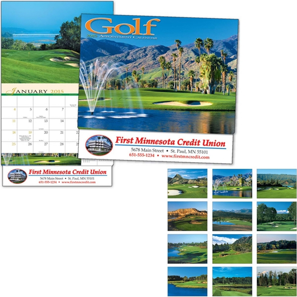 Thirteen Month Appointment Calendar With A Close-up View Of Golf Courses Photo