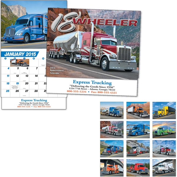 Thirteen Month Appointment Calendar With 18-wheeler Images Photo