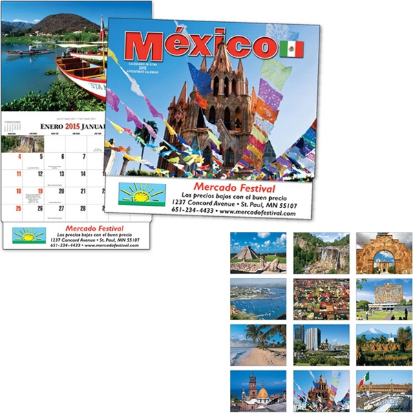 Thirteen Month Bilingual Appointment Calendar With Colorful Photos Of Mexico Photo