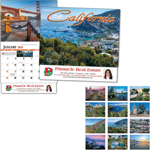 Thirteen Month Appointment Calendar With Photos Of California Photo