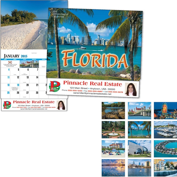 Thirteen Month Appointment Calendar With Images Of Florida Photo