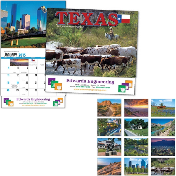 Thirteen Month Appointment Calendar With Photos Of Texas Photo