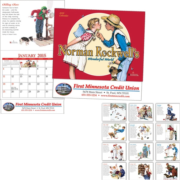 Miniatureline (tm) Norman Rockwell - Thirteen Month Miniature Calendar With Illustrations Photo
