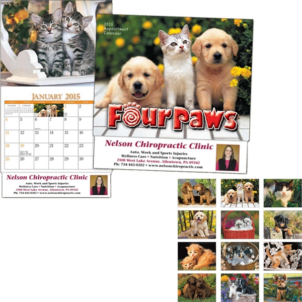 Miniatureline (tm) Four Paws - Thirteen Month Miniature Calendar With Images Of Puppies And Kittens Photo
