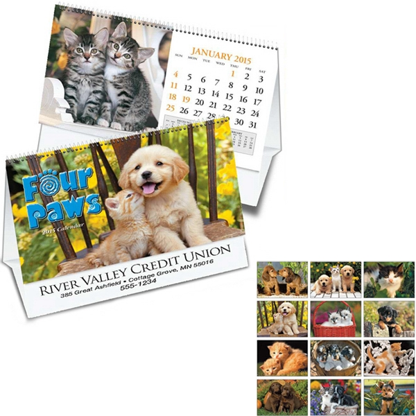 Four Paws - Thirteen Month Desk Tent Calendar Photo