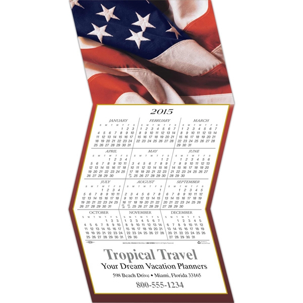 American Flag Greeting Card With Year-at-a-glance Calendar Photo
