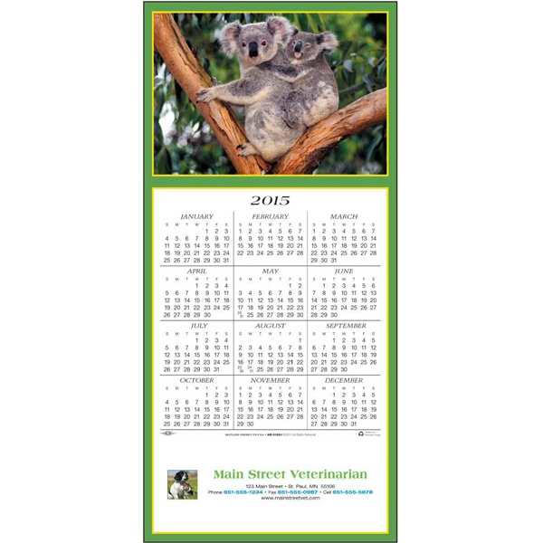 Friendly Koalas - Greeting Card With Year-at-a-glance Calendar Photo