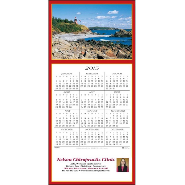 Scenic Lighthouse - Greeting Card With Year-at-a-glance Calendar Photo