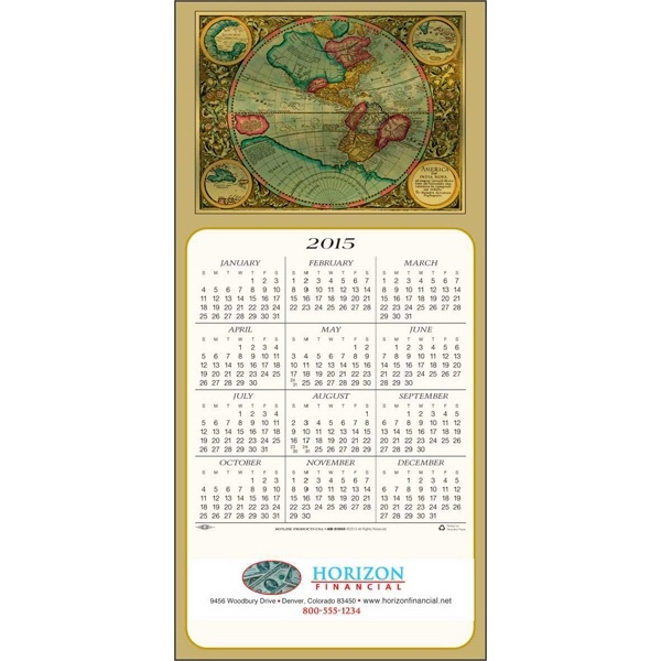 Colorful World - Greeting Card With Year-at-a-glance Calendar Photo