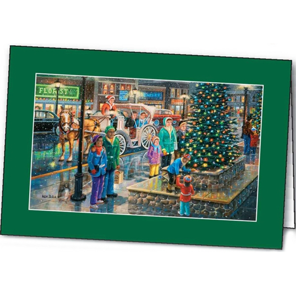 Lighting The Tree - Holiday Greeting Card Photo