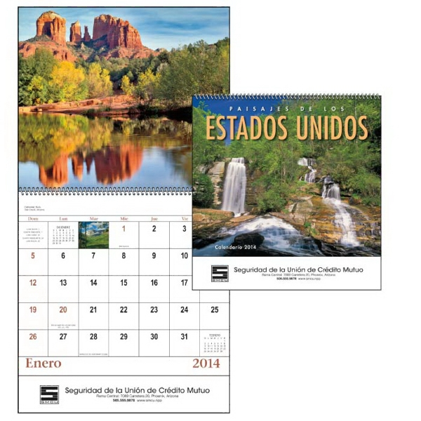 Paisajes De Los Estados Unidos - 13-month 2015 Spiral Calendar With Dec 2015 Printed On Backmount Photo