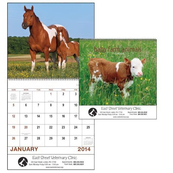 Spiral, 13-month 2015 Calendar Features Cute, Cuddly Adorable Barnyard Babies Photo
